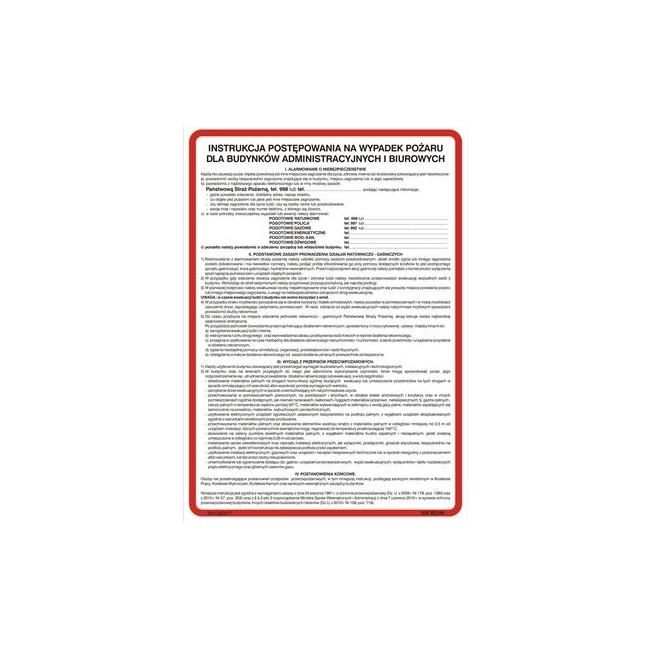 Instrukcja postępowania na wypadek pożaru dla budynków administracyjnych i biurowych (222 XO-09)