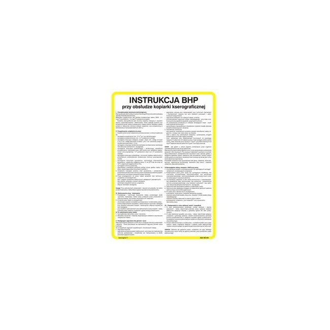 Instrukcja postępowania pracowników w zakładzie z wdrożonym systemem kontroli wewnętrznej HACCP (422 XO-107)