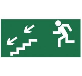 Znak kierunek do wyjścia drogi ewakuacyjnej schodami w dół (na lewo) (105)