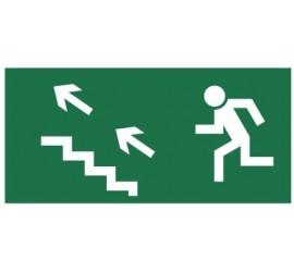 Znak kierunek do wyjścia drogi ewakuacyjnej schodami w górę (na lewo) (107)