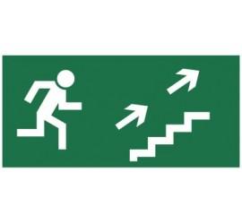 Znak kierunek do wyjścia drogi ewakuacyjnej schodami w górę (na prawo) (108)