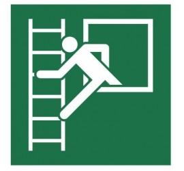 Znak okno ewakuacyjne z drabiną ewakuacyjną (E16)