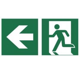 Znak łączony wyjście ewakuacyjne ze strzałką (E01-0LL)