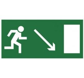 Znak kierunek do wyjścia drogi ewakuacyjnej w dół w prawo (znak uzupełniający) (102-02)