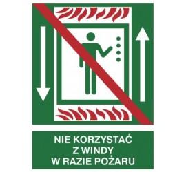 Znak nie korzystać z windy w razie pożaru (154-01)