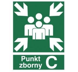 Znak miejsce zbiórki do ewakuacji - punkt zborny C (120-02)
