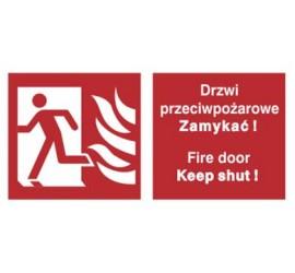 Znak drzwi przeciwpożarowe. Zamykać! Fire door keep shut! (w lewo) (217-02)