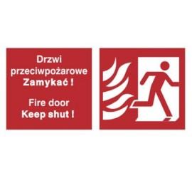 Znak drzwi przeciwpożarowe. Zamykać! Fire door keep shut! (w prawo) (217-20)