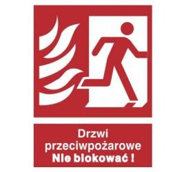 Znak drzwi przeciwpożarowe. Nie blokować! (w prawo) (217-40)