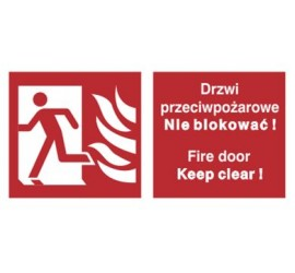 Znak drzwi przeciwpożarowe. Nie blokować! Fire door keep clear! (w lewo) (217-05)