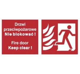 Znak drzwi przeciwpożarowe. Nie blokować! Fire door keep clear! (w prawo) (217-50)