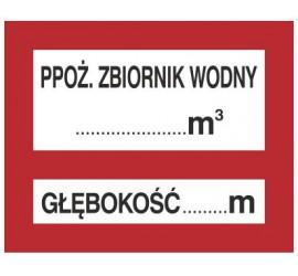 Znak PPOŻ. zbiornik wodny … 3 głębokość … m (231-27)