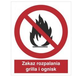 Znak zakaz rozpalania grilla i ognisk (601-01)