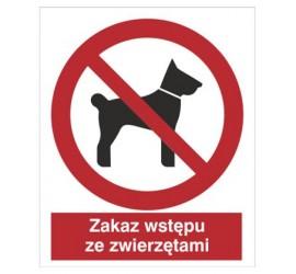 Znak zakaz wstępu ze zwierzętami (605)