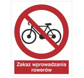 Znak zakaz wprowadzania rowerów (612)