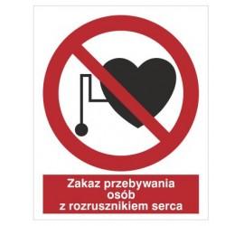 Znak zakaz przebywania osób z rozrusznikiem serca (616)