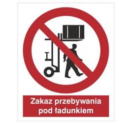 Znak zakaz przebywania pod ładunkiem (617)