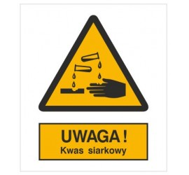 Znak ostrzeżenie przed kwasem siarkowym (303-01)