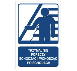 Trzymaj się poręczy schodząc po schodach (823-111)