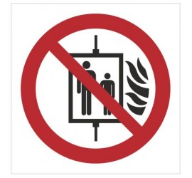 Znak zakaz używania windy w razie pożaru (P20)