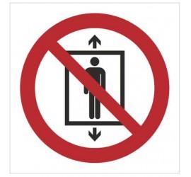 Znak zakaz używania windy przez ludzi (P27)