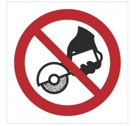 Znak zakaz używania szlifierki ręcznej (P34)