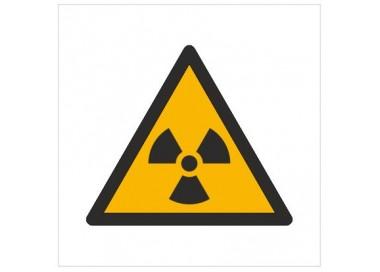 Znak ostrzeżenie przed materiałem radioaktywnym lub promieniowaniem jonizującym (W03)