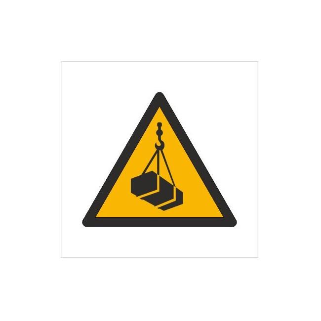 Znak ostrzeżenie przed wiszącymi przedmiotami (wiszącym ciężarem) (W15)