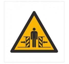 Znak ostrzeżenie przed zgnieceniem bocznym (W19)