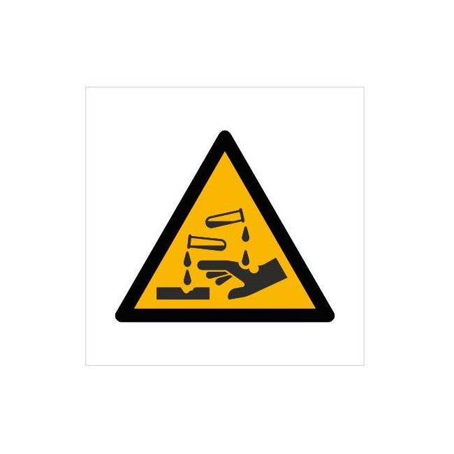 Znak ostrzeżenie przed substancjami żrącymi (W23)