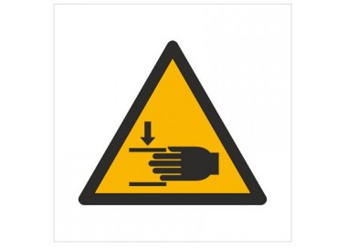 Znak ostrzeżenie przed zgnieceniem dłoni (W24)