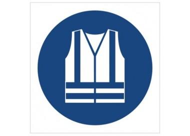 Znak nakaz stosowania kamizelki odblaskowej (M15)