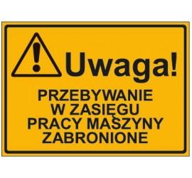UWAGA! PRZEBYWANIE W ZASIĘGU PRACY MASZYNY ZABRONIONE (319-47)